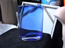 "LARGE HEAVY COBALT BLUE OVAL GLASS VASE THICK CLEAR BASE UV DULL GLOW 9"" 2160g"